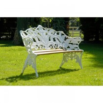 White Hand Cast Aluminium Three Seater Garden Bench