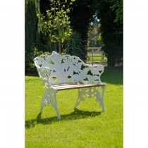 White Hand Cast Aluminium Two Seater Garden Bench