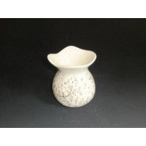 White Hand Curved Ceramic With Golden Design Oil Burner