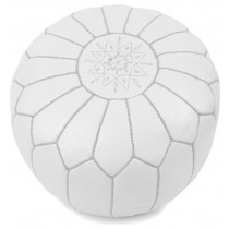 White Leather Cover Floor Pouf