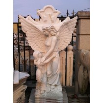 White Marble Angle With Child Garden Sculpture