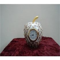 White Marble Apple Clock