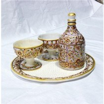 White Marble Designer Bar Set With Gold Work