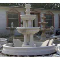 White Marble Hand Curved Pool Water Fountain