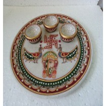 White Marble Pooja Plate 9 Inch