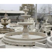 White Marble Three Tiered Vermeer Fountain Pedestal