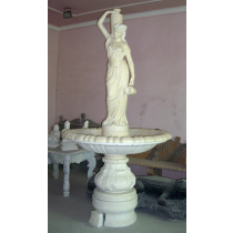 White Marble Water Fountain with Lady Statue