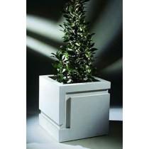 White 24 Inch Square Fiberglass Planter