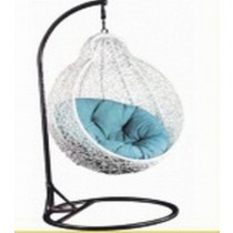 White Pear Shape Rattan Garden Vertical Swing