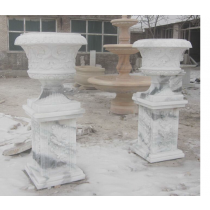 Durable Marble White Planter With Pedestal