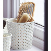 White Rattan Decorative Bin