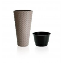 White Rattan Flower Pot Planter With Plastic Liner - 1