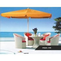 White Rattan Garden Dinning Set With Umbrella & Cushion