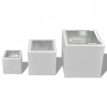 White Rattan Planter Set of 3 Pcs