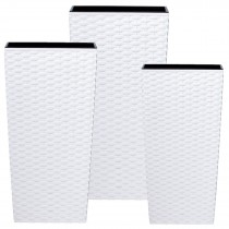White Rattan Tall Square Planter Set of 3 Pcs