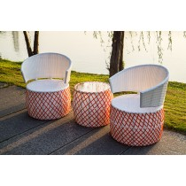 White & Red Checks Pattern Side Table and Chair Set