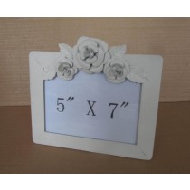 White Rose Hand  Carving Metal Photo Frame