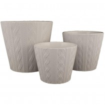 White Round Ceramic Planter Set of 3 Pcs