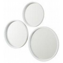 Framed Round Oval Mirror Linen White
