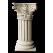 White Sandstone Carved Shape Pillar Style Pedestal