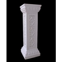 White Sandstone Floral Carved Design Pillar Pedestal