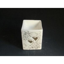 White Square Ceramic Heart Golden Design Oil Burner