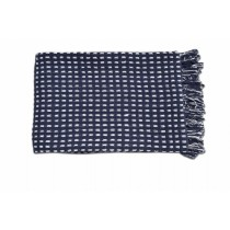 White Square Design Navy Throw