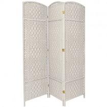 White Tall Diamond Weave Fiber 3 Folding Panel