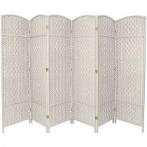 White Tall Diamond Weave Fiber 6 Folding Panel