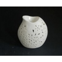 White Teapot Carving Ceramic Oil Burner(L 10.1 X W 6.9 X H 9.9)