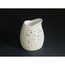 White Teapot Carving Ceramic Oil Burner(L 8.3 X W 6.1 X H 10.4)