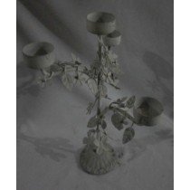 White Washed Floral & Leaf Carving Candle Holder
