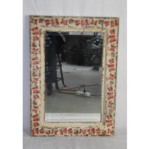 White Washed Red Butterfly Metal Wall Mirror