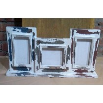 Set Of 3 Whitewashed Colored Wooden Photo Frames