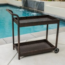 Wicker Black & Aluminum Bar Cart