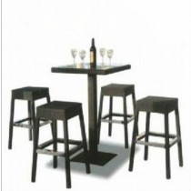 Wicker Black Bar Stool & Bar Table Set (Size: 2.5' x 2.5' ft)