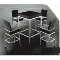 Wicker Black Bar Stool & Bar Table Set With Cushion