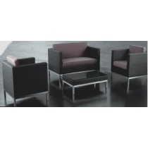Wicker Black Garden Rattan Sofa Set(2 two seater + 2 single seater + 1 table)