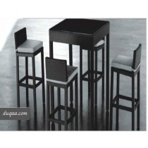 Wicker Black Modern Bar Stool & Bar Table(4+ 1 Set)