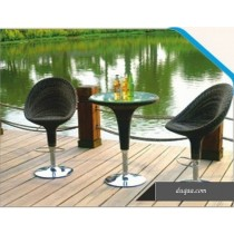 Wicker Black Modern Bar Table & Chair(2 + 1 Set)
