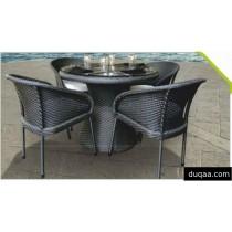 Wicker Black Modular Garden Dinning Set (4 Chair + 1 Table)