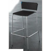 Wicker Black Rattan Bar Stool With Aluminum Leg