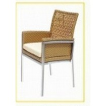 Wicker Brown Classic Restaurant Chair With Cushion