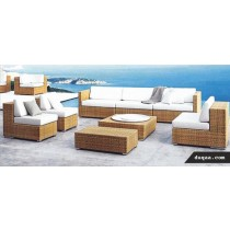 Wicker Brown Garden Outdoor Rattan Sofa Set With Cushion (Full Set )