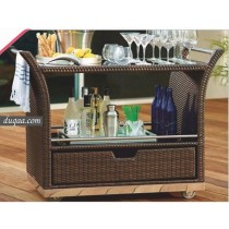 Wicker Brown Garden Rattan Bar Accessories Trolley