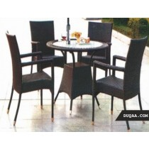 Wicker Brown Garden Rattan Lounge Seating Set(4 Chair + 1 Table )