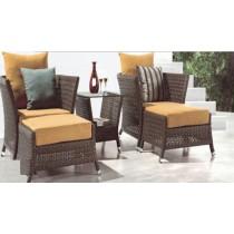 Wicker Brown Garden Rattan Lounge Seating Set(Full Set )