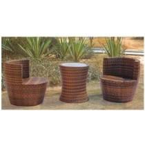 Wicker Brown Garden Rattan Set(2 Chair + 1 Table )