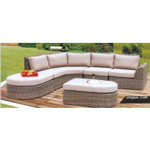 Wicker Brown Garden Rattan Sofa Set(1 five seater sofa  + 1 ottoman+  1 table)