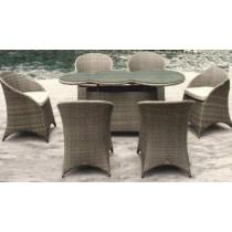 Wicker Brown Modern Style Garden Rattan Dinning Set((6+1) Set)